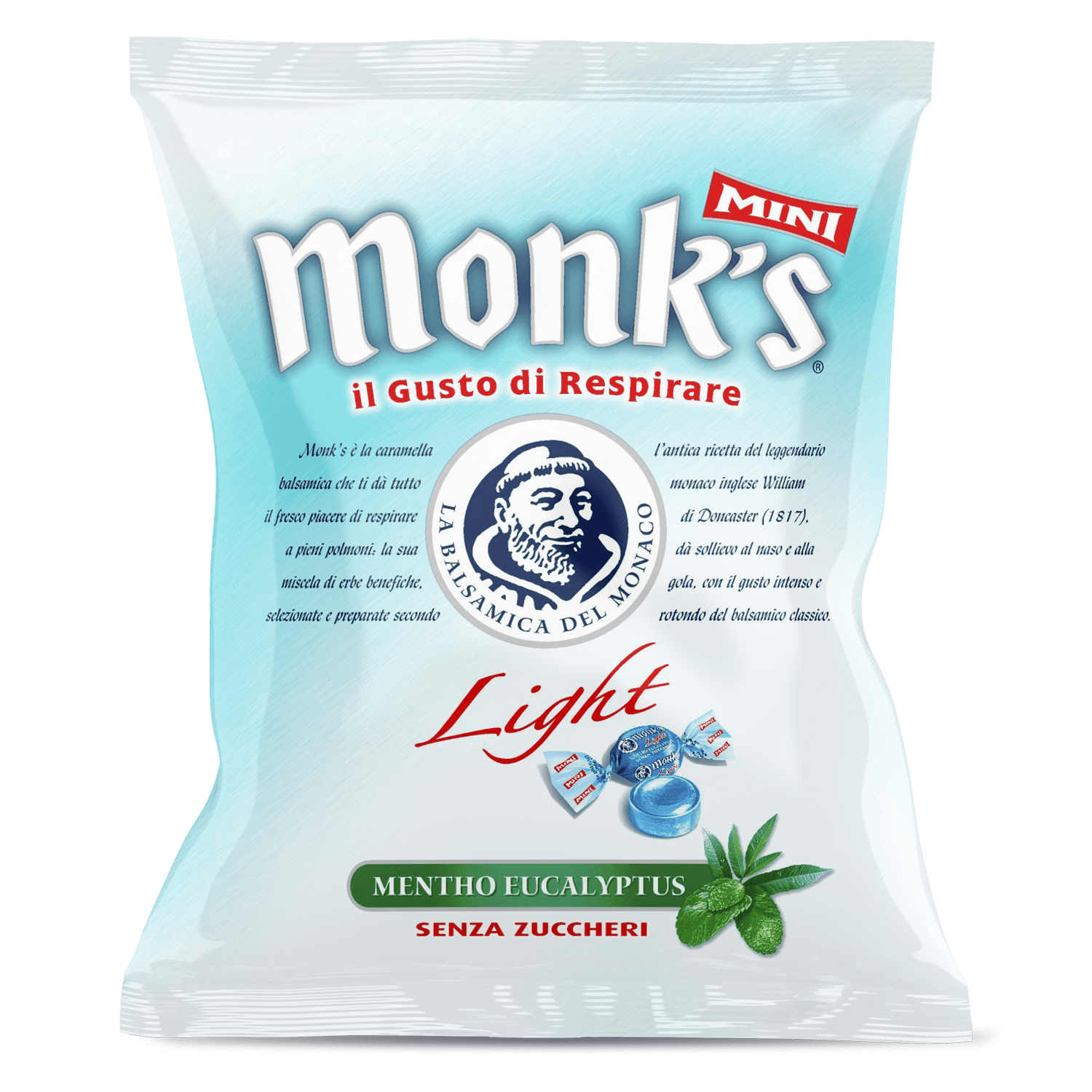 Busta da 70 g Monk's balsamica mini light sugarfree